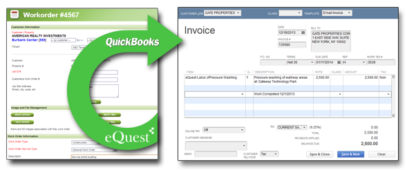 Jantorial work order invoice to quickbook integration. eQuest